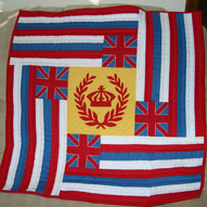 My miniature version of a traditional Hawaiian flag quilt, Ku`u Hae Aloha (My Beloved Flag).